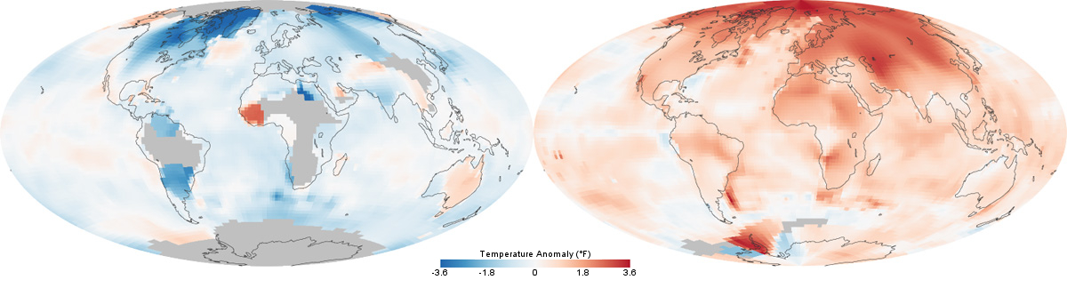 Temperatures Across The World In The 1880s Left And The 1980s Right