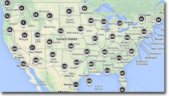 Map of US showing GHG data