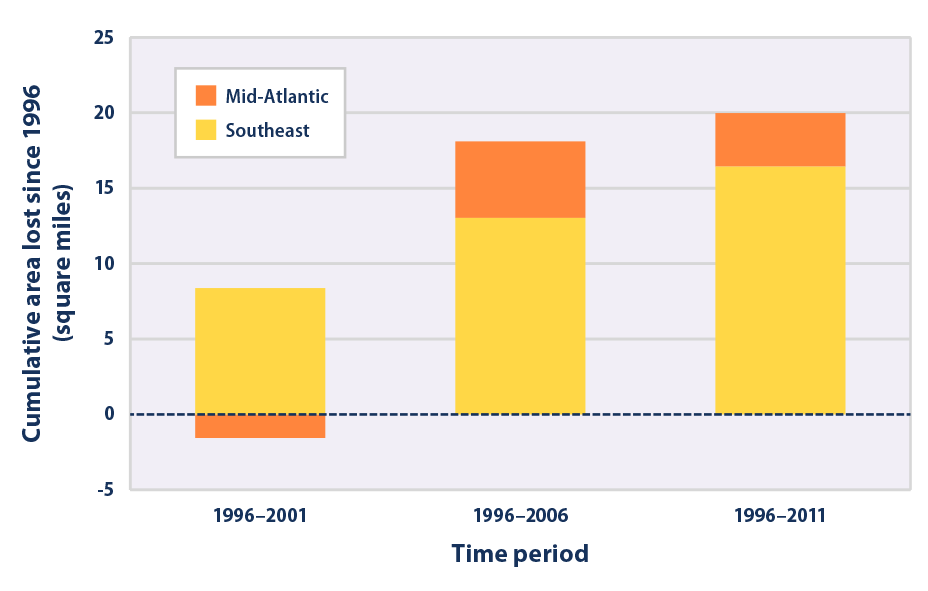 Bar graph showing the net amount of land converted to open water along the Atlantic coast during three time periods: 1996–2001, 1996–2006, and 1996–2011. Results are divided by region.