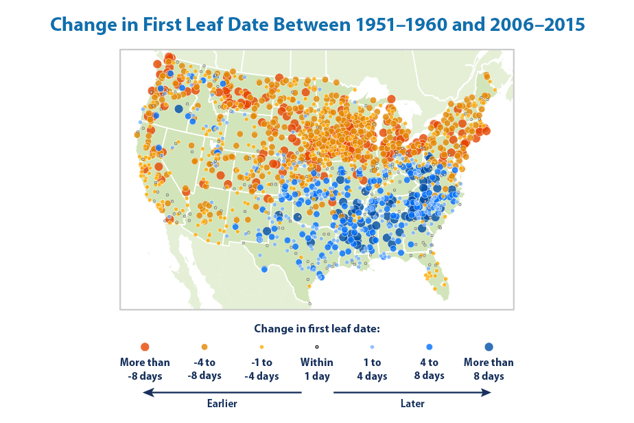 Map showing the change in first leaf dates at weather stations across the contiguous 48 states. This map compares the average first leaf date during two 10-year periods: 1951–1960 and 2006–2015.