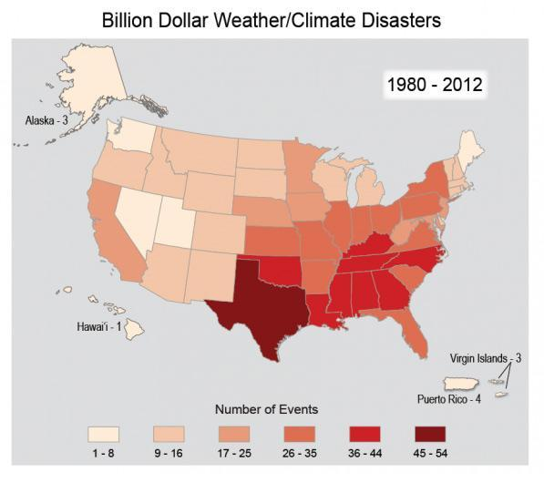Map showing billion dollar weather/climate disasters in the United States from 1980 to 2012, from a minimum of 1 (Hawaii) to a maximum of 54 (Texas).