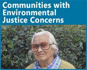 Environmental Justice icon: image of an older woman with glasses