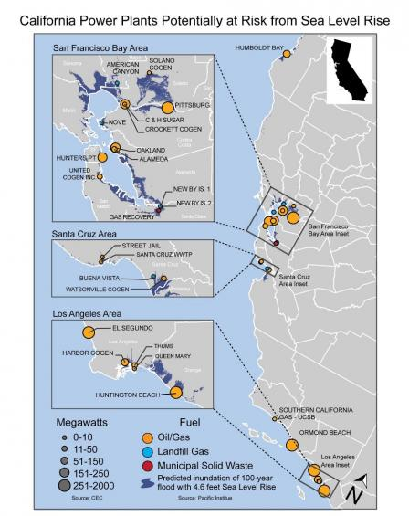 Map of the California coast showing power plants that are at risk of damage from sea level rise. Several plants of varying sizes are at risk in the Los Angeles area, the Santa Cruz area, and San Francisco area. Most at risk plants are oil and gas plants.