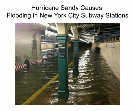 Picture showing a New York City subway flooded by Hurricane Sandy.