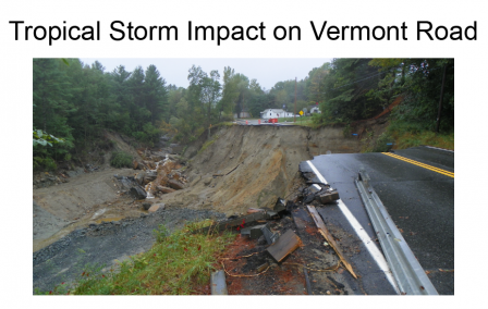 Image of a road in Vermont that was completely destroyed by Tropical Storm Irene.