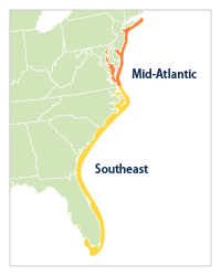 Reference map that shows how the Mid-Atlantic and Southeast regions are defined for Figure 1.